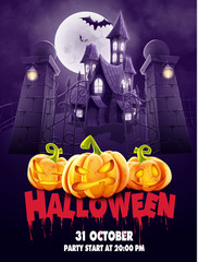 halloween house with pumpkin