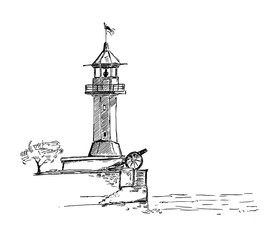 Vector lighthouse illustration. Hand drawn ink picture of beacon