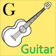 G letter. Vector alphabet. Coloring book guitar