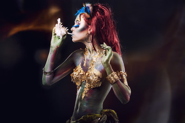 Photo sur Aluminium Body Paint Beautiful young girl with body art in an fantasy style