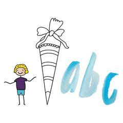 back to school - Feier zum Schulanfang, Schuleinführung, fröhlicher Junge freut sich auf die Schule mit Zuckertüte