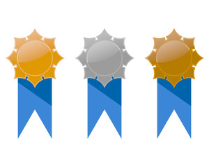 Gold, silver and bronze medals set with blue ribbon,