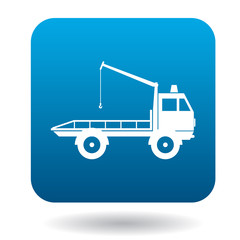 Tow truck icon in simple style in blue square. Transport and service symbol