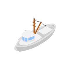 Yacht icon in isometric 3d style isolated on white background. Maritime transport symbol