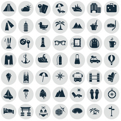 Set of forty nine trave icons