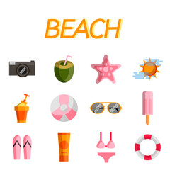 Beach flat icon set