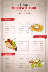 Drawing vertical color mexican food menu