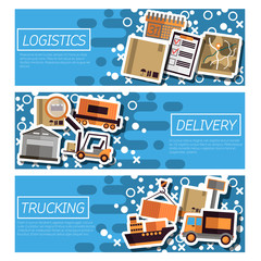 Set of Horizontal Banners about logistics