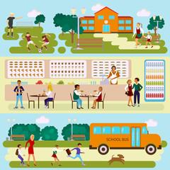 Set Isolated illustrations of school