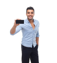Handsome business man displaying mobile cell smart phone take photo happy smile