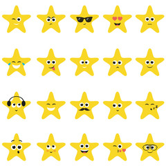 stars with smiley faces