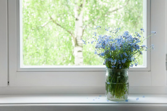 Bouquet of flowers forget-me-nots on the window