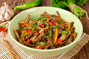 Stir fry pork, sweet peppers, onions and garlic