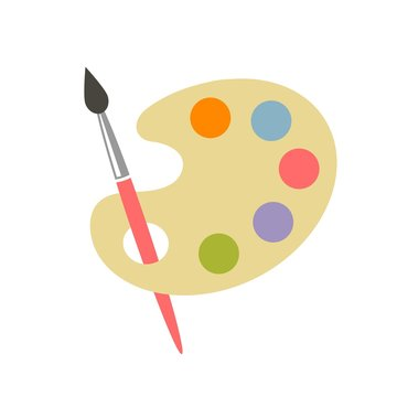 colorful brush and palette icon