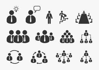 Businessman icons set. Office, business, management, human resource