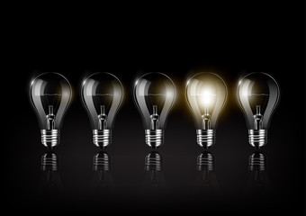 Glowing light bulb is among a lot of turned off light bulbs on black background , concept idea , Transparent Vector