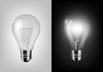 turned off light bulb and glowing light bulb on black and white background , Transparent vector