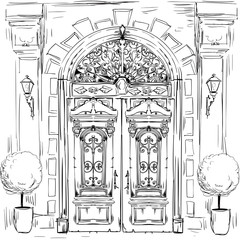 illustration with old doors