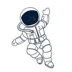 Vector Illustration of a Hand Drawn Astronaut Doodle