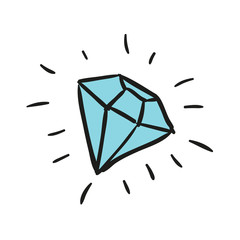 Vector Illustration of a Hand Drawn Diamond Doodle