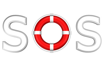Concept: word SOS with lifebuoy. 3D rendering.