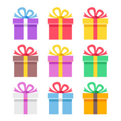 Colorful gift boxes set. Creative concepts. Modern graphic elements. Flat design vector illustration