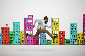 Man in virtual reality headset in jump over white background wit