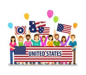 USA, United States. Happy crowd of people with placards at the city festival. Vector illustration