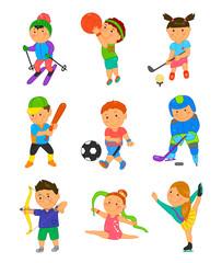 Cartoon sport kids. Vector illustration
