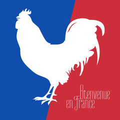 France vector illustration with French flag colors and cock