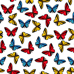 Seamless pattern with  beautiful red , yellow and blue butterflies