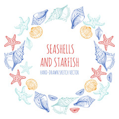 Seashells, Starfish. Round ornament, circle, vector background. Hand drawn sketch.