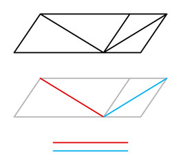 Sander optical illusion or Sanders parallelogram. The diagonal line bisecting the left parallelogram appears to be longer than the line in the right parallelogram, but is the same length. Illustration