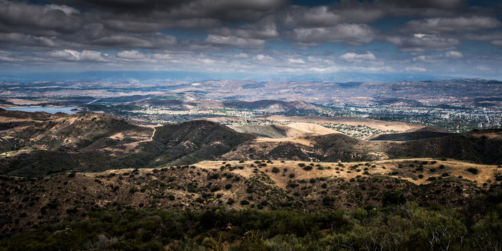 Aerial View of Ventura County, Thousand Oaks, Simi Valley, and Oak Park from Simi Peak (North)