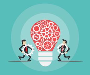 businessman make a light bulb work. idea concept