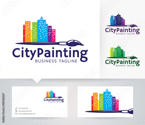 city painting vector logo with alternative colors and business card template im genes de. Black Bedroom Furniture Sets. Home Design Ideas