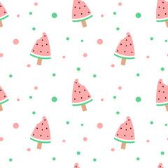 cute watermelon bitten ice cream seamless vector pattern background illustration