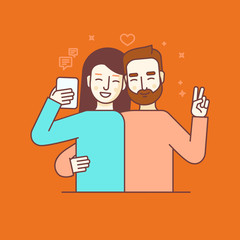 Vector illustration in flat linear style - internet or video blo