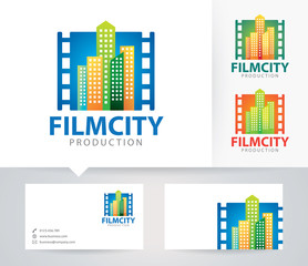 Film City vector logo with alternative colors and business card template