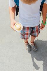 Schoolboy with ice cream