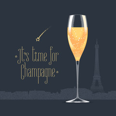 French Eiffel tower and glass of champagne vector illustration
