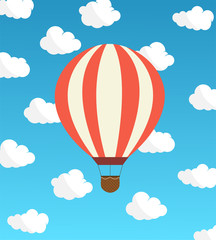 Air Balloon against the sky with clouds. Vector illustration