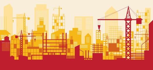 Construction Skyline, Scene, Red Background, Site, City, Urban, Facility