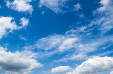 Amazing blue sky with the big white clouds - nature background