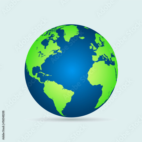 Wall mural Illustration of a world globe isolated on a white background