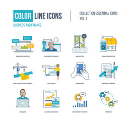 Color thin Line icons set.