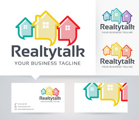 Real Estate Consulting vector logo with alternative colors and business card template