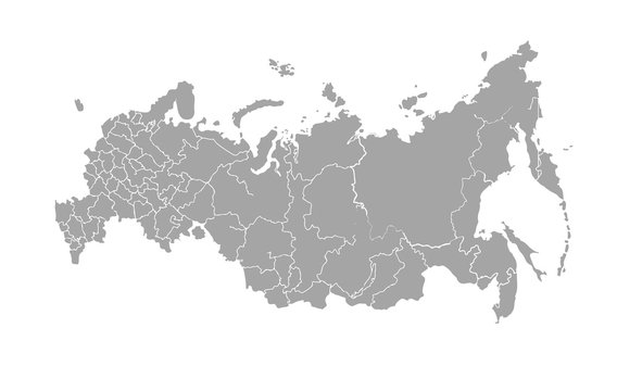 Vector map of Russian Federation on white background