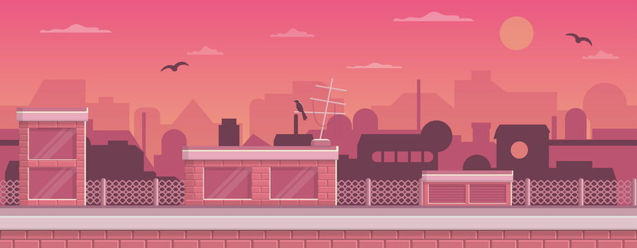 Seamless layered parallax ready runner shooter game cityline background scene. Urban environment, roofs, buildings and other elements.