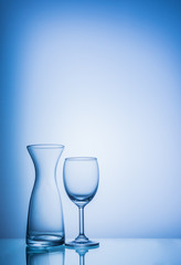 Glasses in blue color tone.